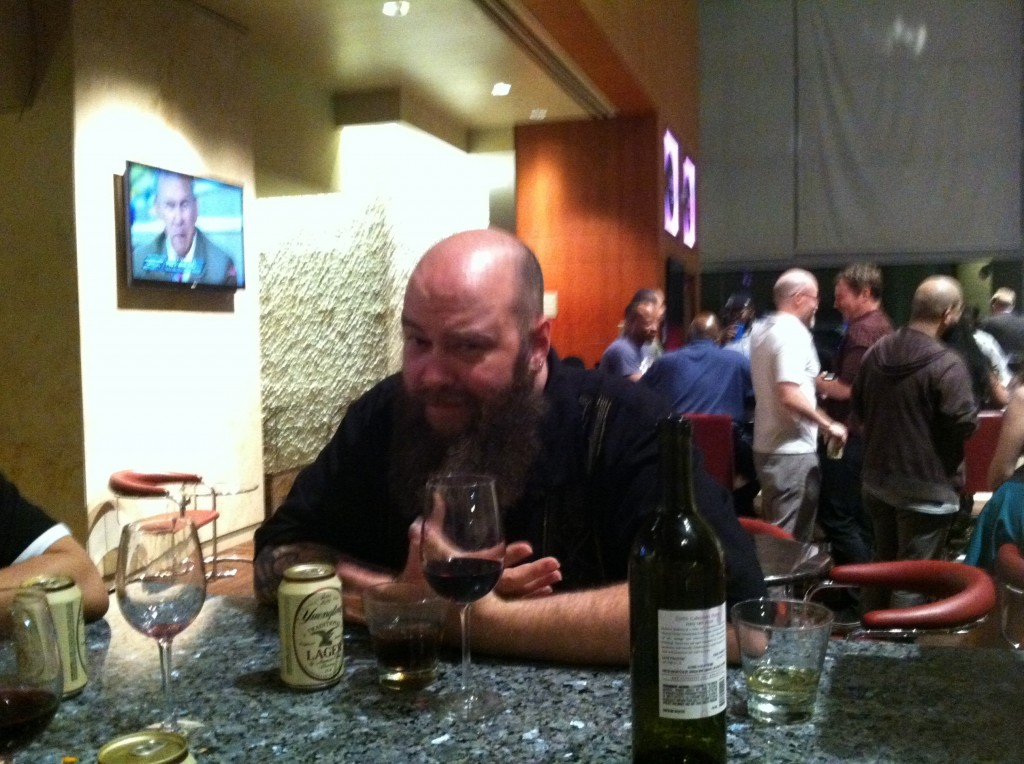 Jason Aaron with wine, whiskey and beer