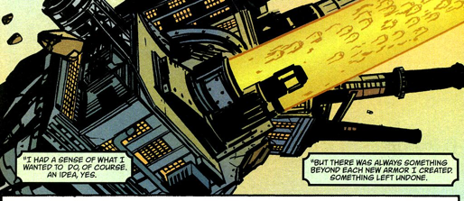 The City Iron Man shoots Iron Manz as bullets.